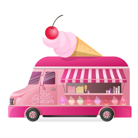 Illustration pour Street van with street food, shop truck cowith types of cool ice cream unter on wheels, counter with sweet cotton dessert. Canopy, on wheels, with ice cream menu and tasty eating. Vector illustration. - image libre de droit