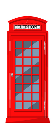 Illustration pour London red telephone booth with payphones. Cabin booth, communication device and traditional recognizable element of UK culture. Vector illustration. - image libre de droit