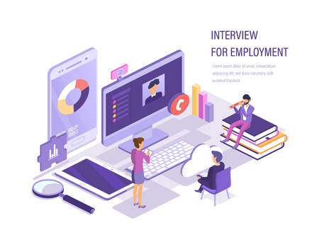 Illustration pour Interview for employment via webcam. Internet interview with head, search and selection of candidates, recruitment of personnel, hunt for human resources, study of the resume. Isometric vector. - image libre de droit