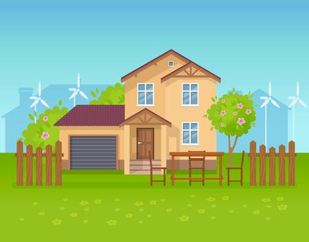 Illustration pour Ecological country house, cottage, guest house, clean ecology, eco nature. - image libre de droit