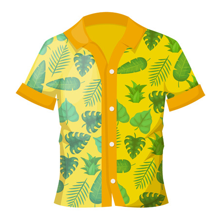 Illustration for Summer men's colorful shirt with a decorative Hawaiian ornament. Men's shirt with short sleeves. Fashionable modern clothes in bright light colors. Vector illustration. - Royalty Free Image