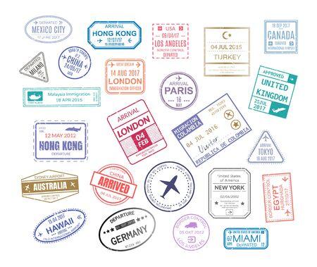 Illustration pour Stamp in passport for traveling an open passport - image libre de droit