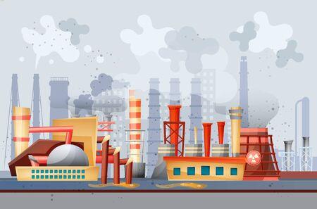 Illustration pour Environmental pollution by industrial dirty waste vector - image libre de droit