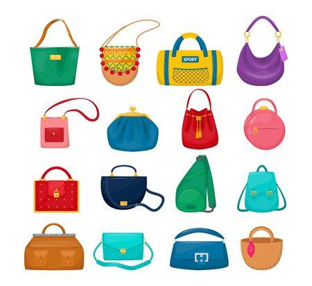 Illustration pour Lady accessories bag clutch, hobo, tablet, hippie, sling bag, sports, - image libre de droit