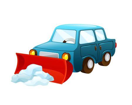 Illustration pour Car with nozzle for snow removal vector - image libre de droit