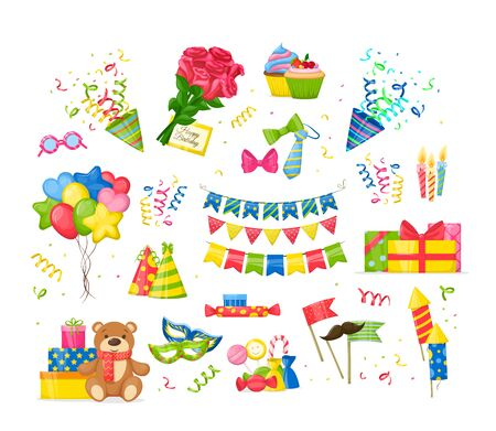 Illustration for Celebration Birthday party decorations set. Happy birthday party symbols gift, cupcakes, cake, garlands, festive candles burning, ties, bows, toys, bouquet of roses, envelope cartoon isolated vector - Royalty Free Image