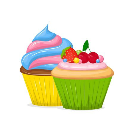 Illustration pour Cupcakes and Muffin sweet pastries food vector - image libre de droit