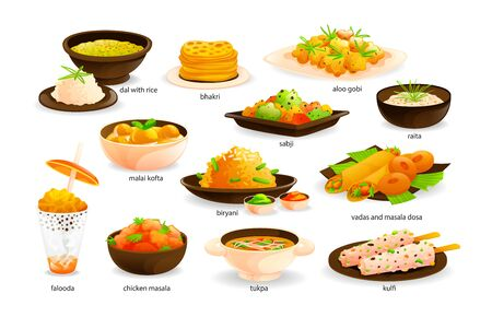 Illustration for Indian cuisine traditional food set. India dishes menu restaurant breakfast dinner - Royalty Free Image