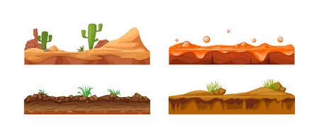 Illustration for Game landscape, gaming interface. Landscape for 2D games. Scenery with cactus, soil, sandy ground, lava vector - Royalty Free Image