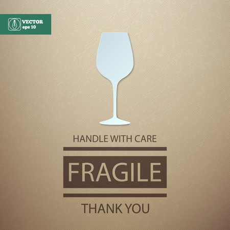 Fragile. Handle with Care. Wineglass.
