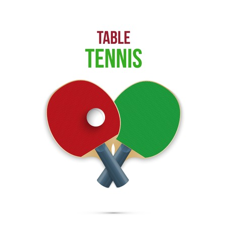 Two rackets for playing table tennis isolated on white background. Vector illustration