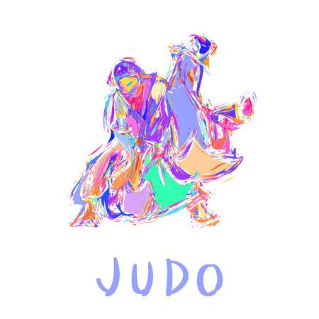 Hand Drawn Judo Throw Isolated Vector Illustration