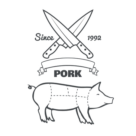 Vintage butcher cuts of pork menu chalk vector illustration
