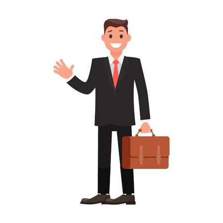 Vektor für Flat Design Character Businessman with Briefcase. Vector illustration - Lizenzfreies Bild
