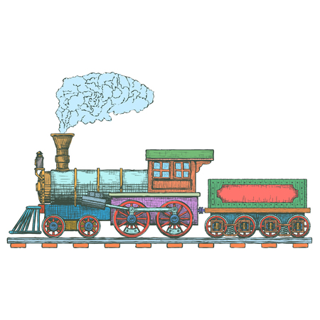 Illustration pour Vintage Steam locomotive design template. train or transport icon. - image libre de droit