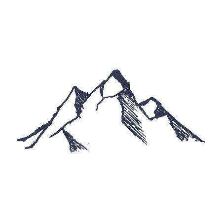 Illustration pour Mountains. Hand drawn rocky peaks mounstain. Vector - image libre de droit