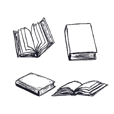 Illustration pour Books hand drawn illustrations set. Open diary, library textbook with empty pages isolated on white background. Closed notebook or book. Literature reading. - image libre de droit