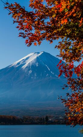 Photo pour Mt.Fuji view from Kawaguchiko lake with autumn leaves foreground. - image libre de droit