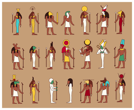 Illustration pour Set of 21 ancient male and female Egypt gods drawn in classic Egyptian style - image libre de droit