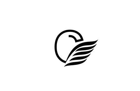 Photo pour Typography Logo Font Letter C Wings Vector - image libre de droit