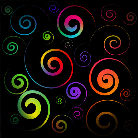 Vector - colorful spirals on a black background