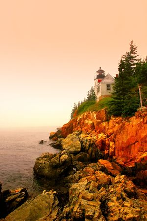 Lighthouse in Bass Harbor, Maine, at sunset