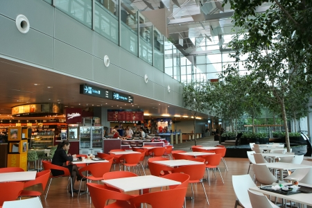 One of many dining area in Changi International Airport, Singapore.