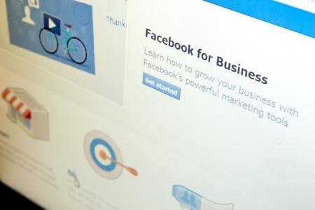 Facebook for Business page in Facebook social media website.