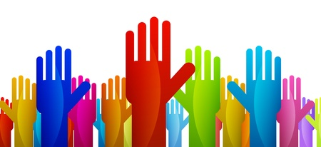Colorful hands expressing their vote or decision