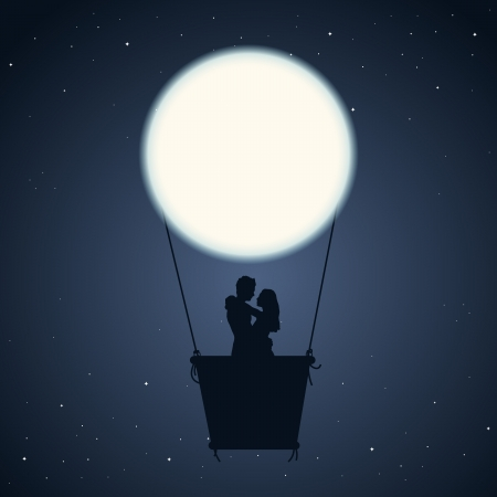 illustration of a couple in an air balloon of moon