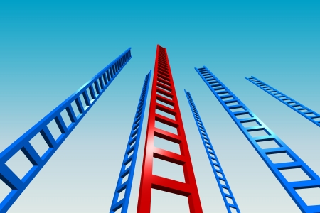 3d render illustration of several tall ladders going upward to the sky.