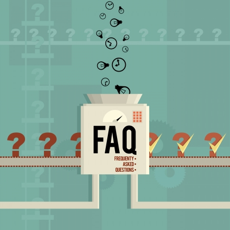 Vector illustration of a FAQ machine answering frequently asked questions