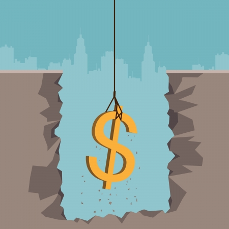 Vector illustration of a rope pulling out a dollar currency sign from the earth
