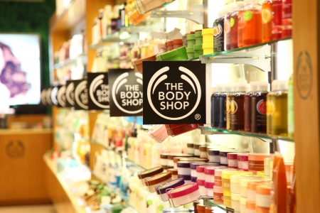 Cilandak Town Square, Jakarta, Indonesia - October 12, 2013: The Body Shop logos at The Body Shop outlet in Cilandak Town Square, Jakarta. The Body Shop is a cosmetic brand and has more than 2,400 stores in 61 countries.