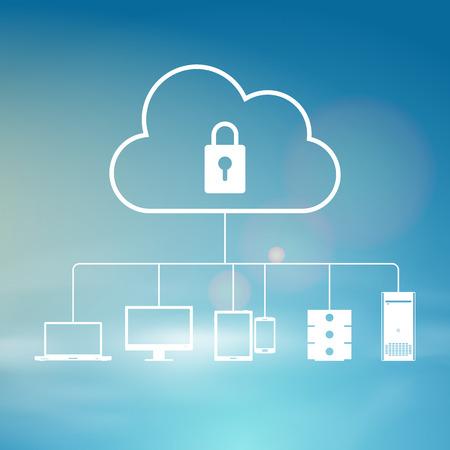 Vector illustration of secure cloud sky background design element.