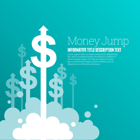 Vector illustration of dollar currency signs with upward arrows.