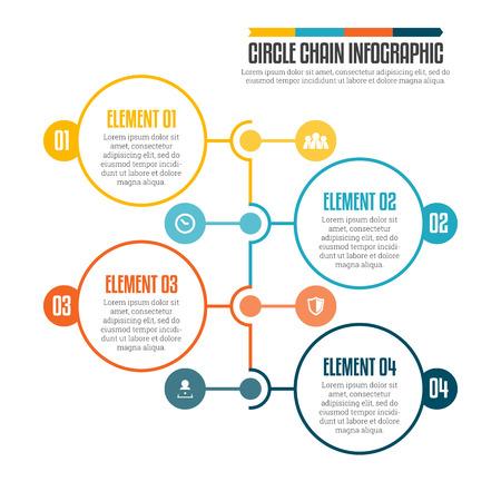 Illustration pour illustration of circle chain infographic design element. - image libre de droit