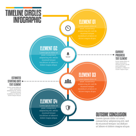 Vector illustration of vertical timeline circle infographic design element.