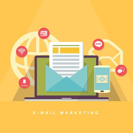 Vector flat cartoon illustration of e-mail marketing concept.