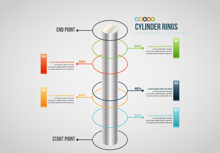 Illustration pour Vector illustration of Cylinder Rings Infographic design element. - image libre de droit