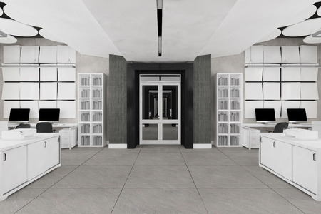 Nobody modern office work place interior visualization
