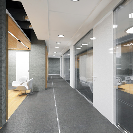 corridor of modern office building 3D visualizationの写真素材