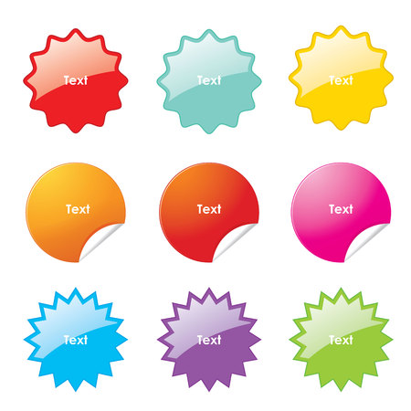 Illustration pour Set of multi-colours stickers with rounded corners in different shapes. Vector illustration. - image libre de droit