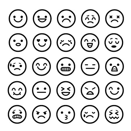Illustration for Vector icons of smiley faces emotion Cartoon - Royalty Free Image