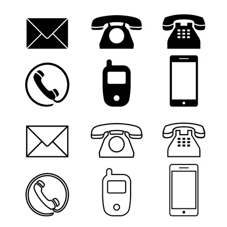 Illustration for Different icon phone simple telephone illustration - Royalty Free Image