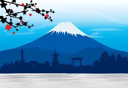 Illustration pour Mountain Fuji Japan Sakura View Landscape Travel Place - image libre de droit