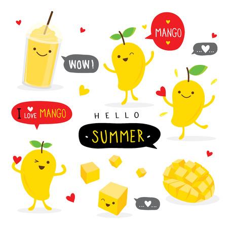 Ilustración de Mango Fruit Summer Cartoon Smile Funny Cute Character Vector - Imagen libre de derechos