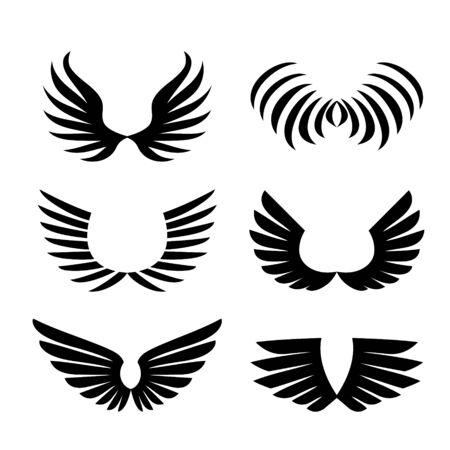 Illustration pour Wings. Set of Simple logo or sign element Vector illustration. - image libre de droit