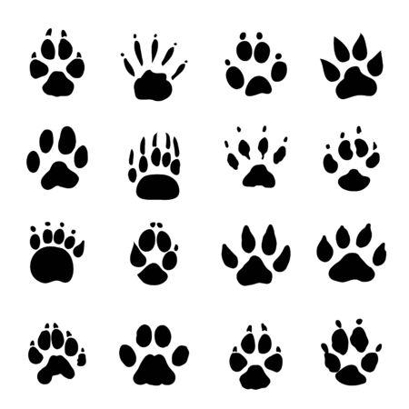 Illustration for Set of Animal Spoor Footprints element Icon Vector illustration. - Royalty Free Image