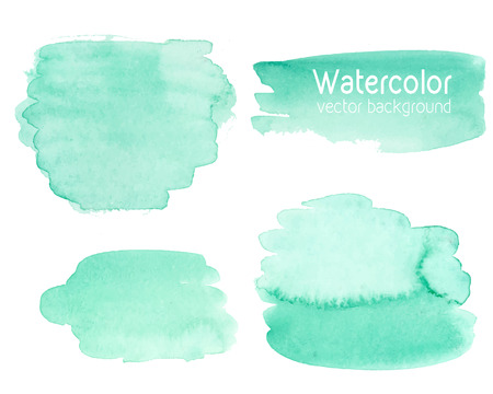 Vector set of abstract watercolor background with paper texture. Hand drawn mint watercolor backdrop, stain watercolors colors on wet paper. Good for invitations, scrapbooking, banners, tags, labels, etc